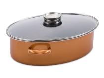 Tavë Ovale + Kapak me dorezë aromatizuese Delimano Stone Legend CopperLUX